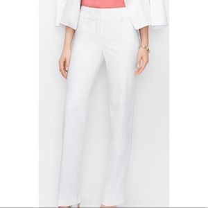 White straight leg fitted petite dress pant 00
